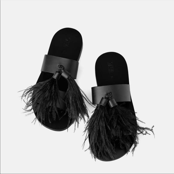 Zara Black Leather flat sandals, feather tassel